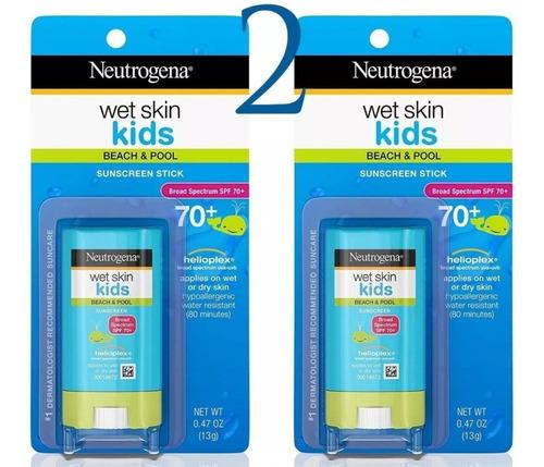 2 X Protetor Solar Bastão Neutrogena Kids Wet Skin Spf 70+