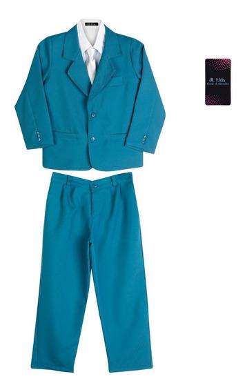 Terno Infantil Conjunto Completo Azul Celeste Social Claro