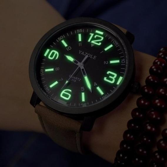 Relógio Quartz Pulseira Em Couro Masculino Yazole