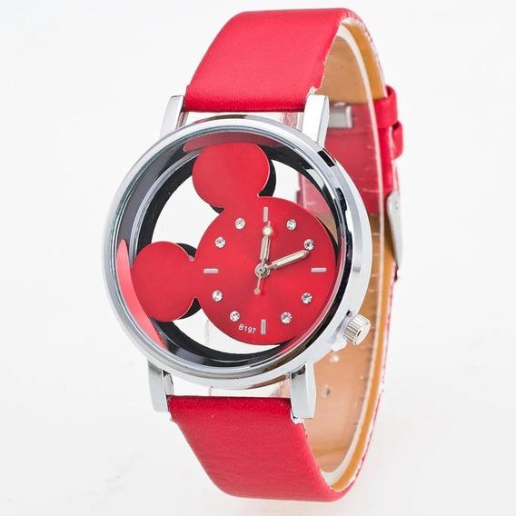 Relógio De Pulso Mickey Feminino Vermelho