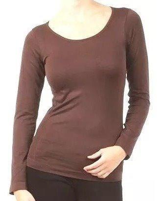 Blusa Camisa Térmica Flanelada Feminina Marrom