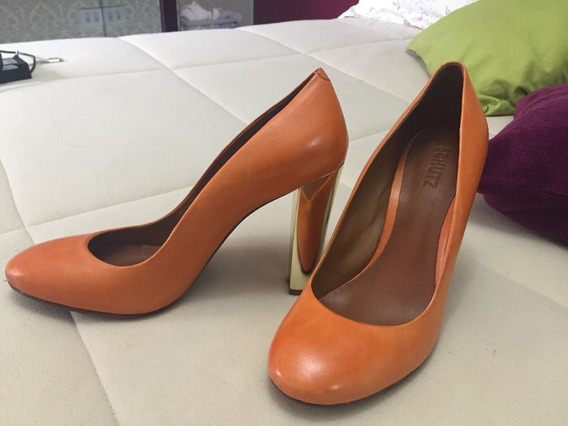 Sapato Schutz Laranja E Dourado