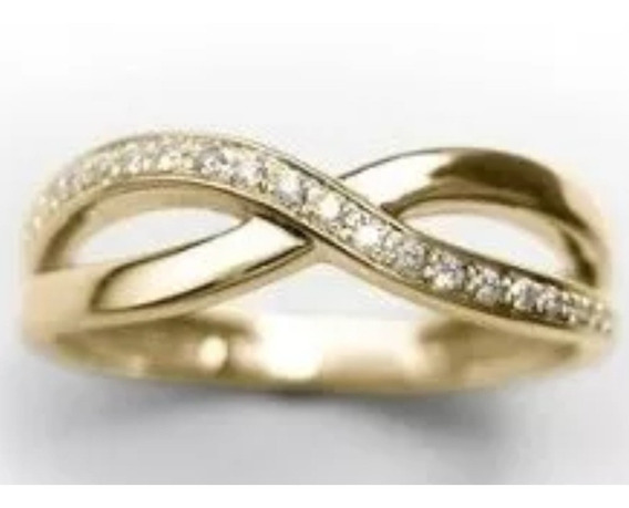 Anel Infinito Em Ouro Amarelo 18k Com Diamantes Brancos .