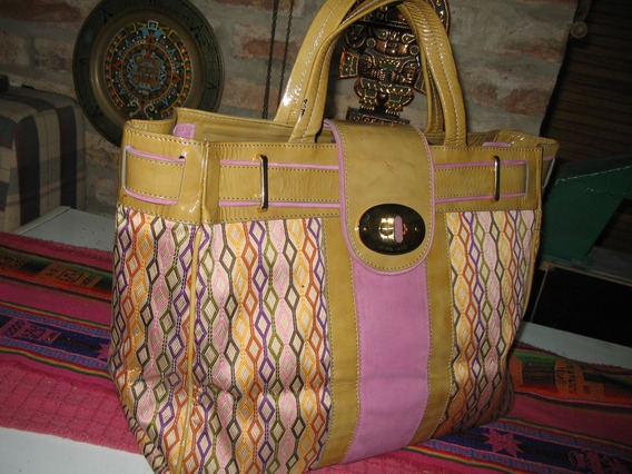 Cartera Jackie Smith Tela Tapicreria Charol Shopping Bag Big