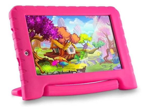 Tablet Infantil Criança Multilaser Kids Quadcore + Capa Rosa
