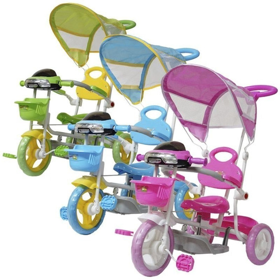 Triciclo Infantil Passeio 2 Em 1 Com Som Luz Capota E Pedal