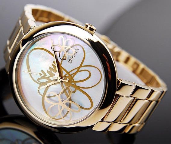 Relógio Feminino Dourado Original Donna Karan Dkny Flores
