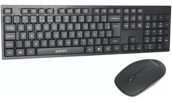 Kit Teclado Com Mouse Sem Fio 2.4g - Bk- S370 Exbom