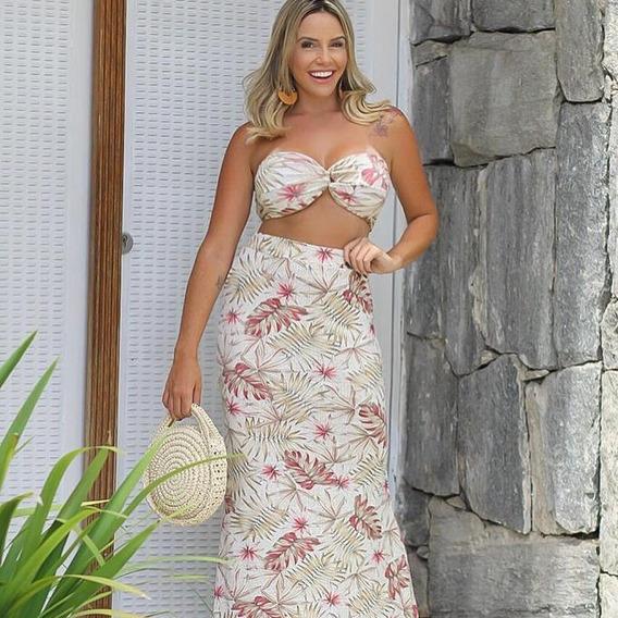Conjunto Floral Feminino Saia Longa E Cropped Top Com Bojo