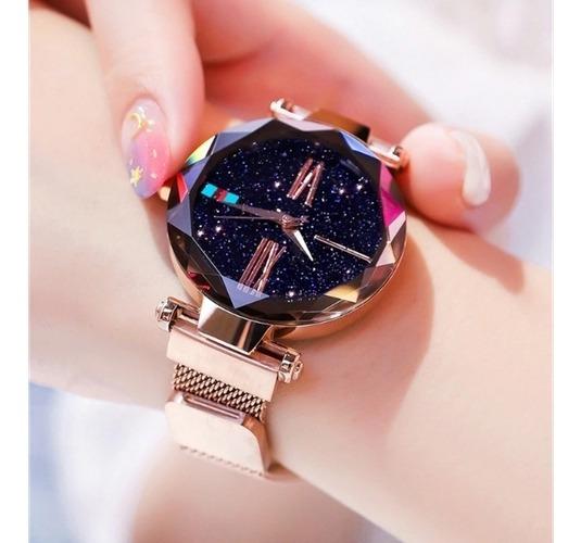 Relógio De Pulso Quartz Feminino De Pulseira Magnética Rosê