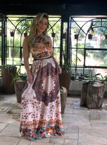 Vestido Longo Estampado Use De Varias Formas Saia Mult