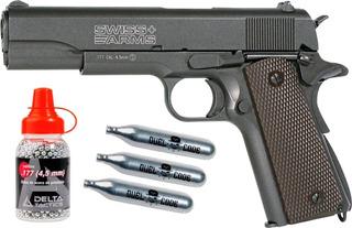Pistola Balines Co2 4.5 Swiss Arms Blowback 1911 Full Metal