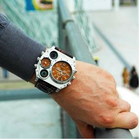 Relógio Masculino De Pulso Oulm L Militar Couro Esportivo