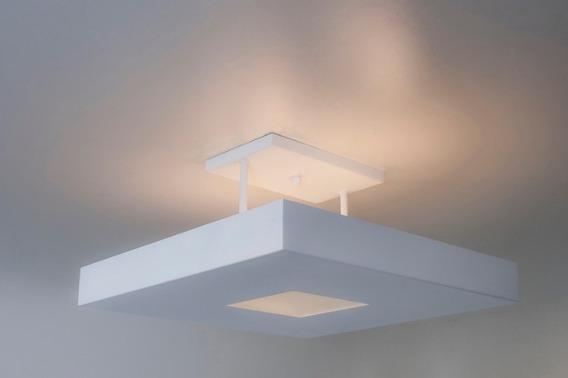 Plafon Rebatedor Vazado Com Vidro Central 40x40 Branco