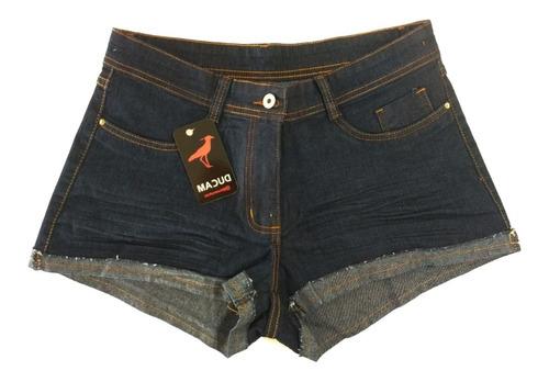 Short Jeans Cintura Alta Feminino Desfiado C Elastano
