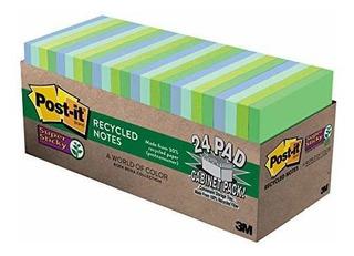 Notas Recicladas Super Pegajosas Post-it, Tonos Frios, Paque