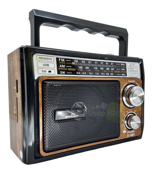 Radio Retrô Vintage Recarregável Am Fm Sw Usb Mp3 Auxiliar