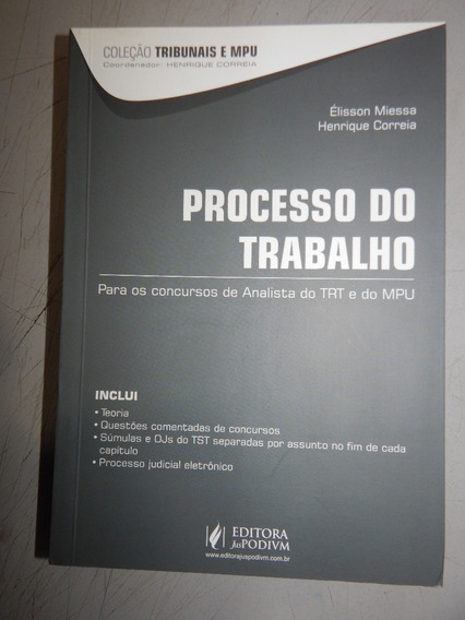 Processo Do Trabalho Para Os Concursos De Analista Do Trt E