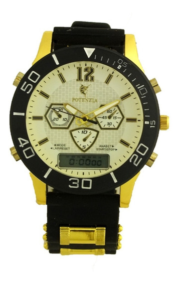 Oferta Relógio Pulso Masculino Potenzia Dourado Preto B5666