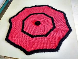 Tapete Sala De Crochê Estrelado 1.20 X 1.20 Rosa E Preto
