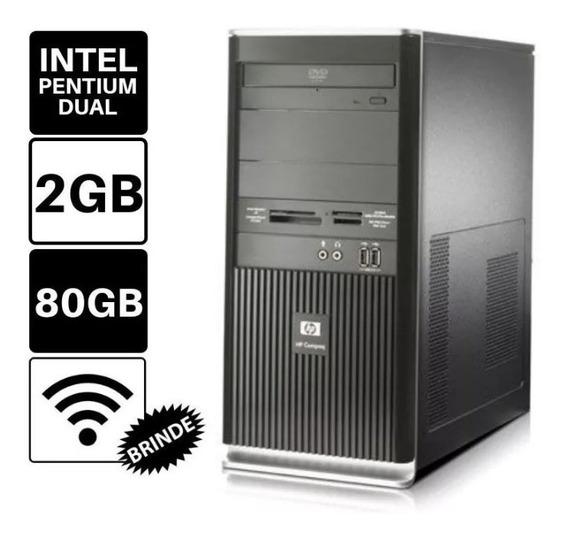 Desktop Hp Compaq Pentium 2gb 80gb Imperdível