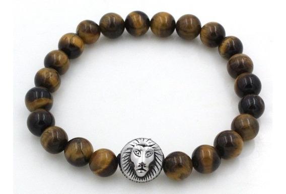 Pulseiras Masculinas De Pedras Naturais Olho De Tigre Marrom