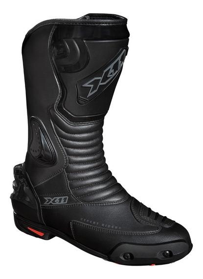 Bota X11 Race Track Preto Cano Longo Moto Proteções