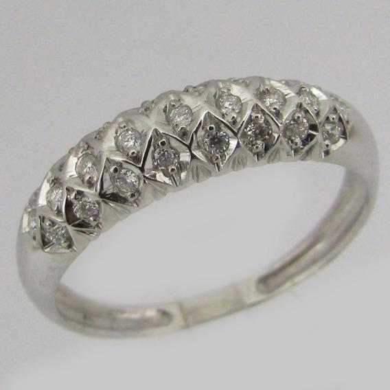 2613 Anel Ouro Branco 18k Diamante Li Gold