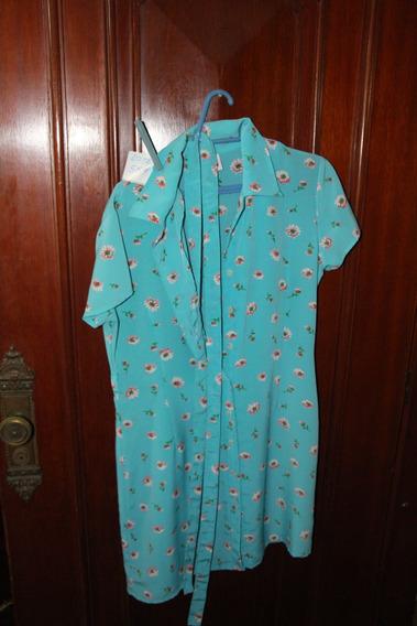 = Roupa Lote 584 Mulher Bata Azul 44 Florido 0.95m