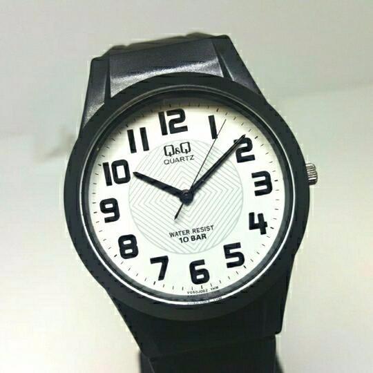 Relógio Feminino Masculino Borracha Preto Fundo Branco Q&q
