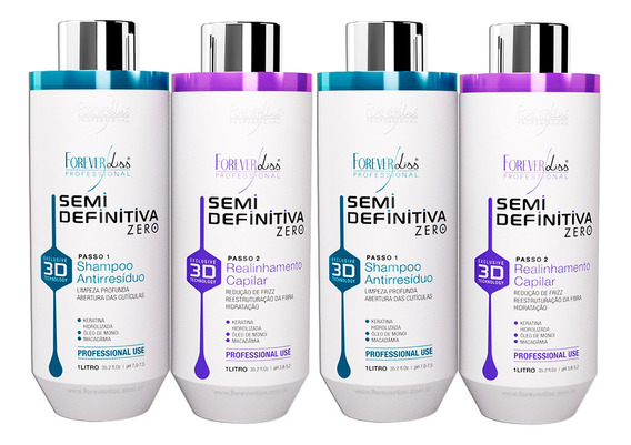 Kit 02 Forever Liss Progressiva Power 3d Sem Formol Litro