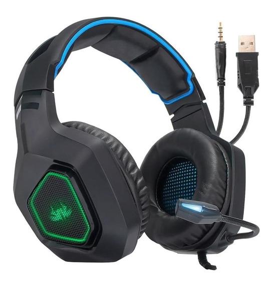 Fone de ouvido gamer Knup KP-488 preto e azul