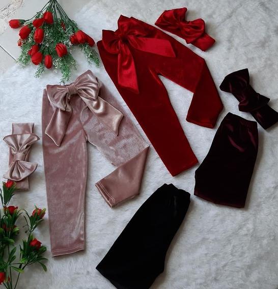 Pantalón Leggin Velvet Terciopelo Moño + Diadema Moda