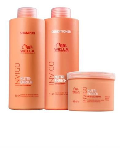 Imagem 1 de 3 de Wella Nutri-enrich Shampoo 1l +  Condicionador 1l Mask 500ml