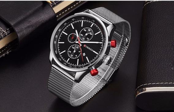 Relógio Curren Masculino Luxo Original 8227 Prateado