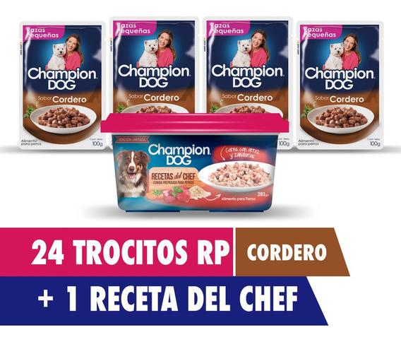 Pack 24 Sobres 100g Alimento De Perro Champion + Receta Chef
