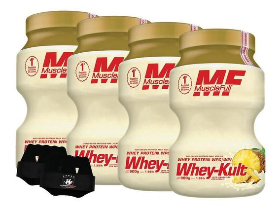 Kit 4x Whey Kult 900g Abacaxi Muscle Full + Luva