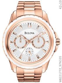 Relógio Bulova Feminino Rosé Fundo Branco Wb22177z