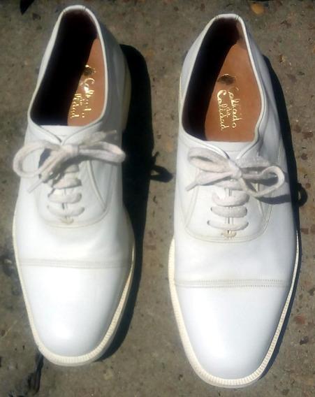 Zapatos De Cuero Vestir Blancos Hombre Suelas Febo Cordónes.