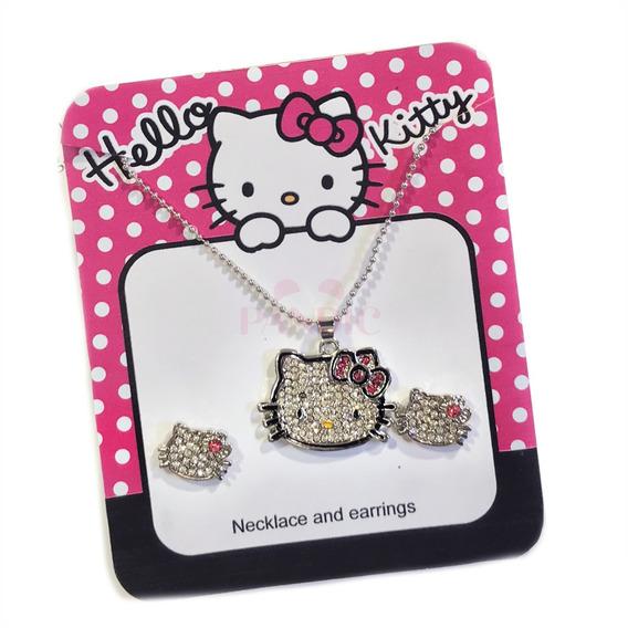 Hermoso Collar Hello Kitty + Aretes Swarovski Para Niña