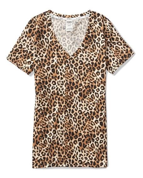 Camiseta Victorias Secret Pink V-neck Manga Curta Leopard
