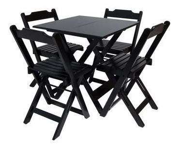 Conjunto Dobrável 70x70 Com 4 Cadeiras - Preto