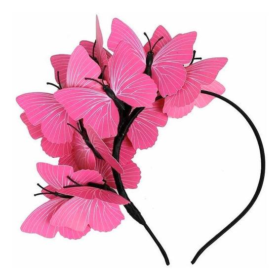 Accesorio Diadema Tocado Mariposa Color Rosa