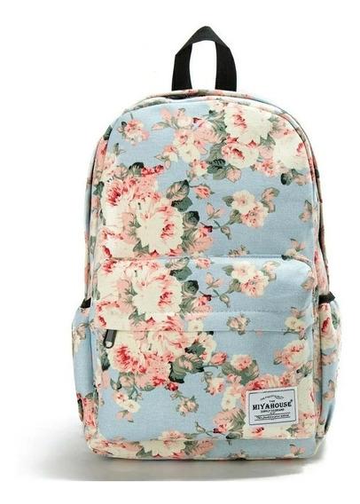 Mochila Dama Mujeres Linda Floral Escolar Viaje Casual