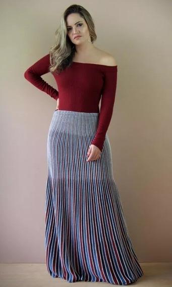 Saia Plissada Color Jeans-inverno-tricot