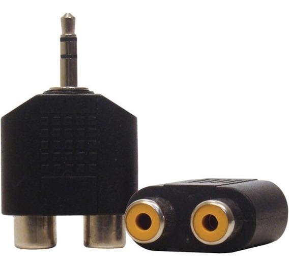 Kit 50 Plug Adaptador 2x Rca Femea X P2 Macho Áudio