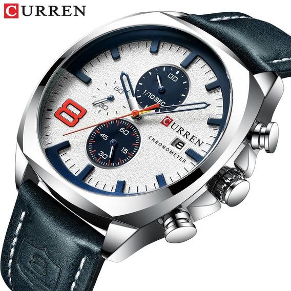 Relógio Curren 8324 Original Cronógrafo Funcional De Couro