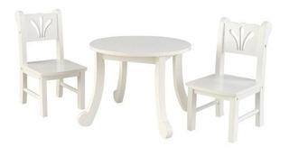 Set Mesa Y 2 Sillas Para Muñecas Madera Acabado Blanco