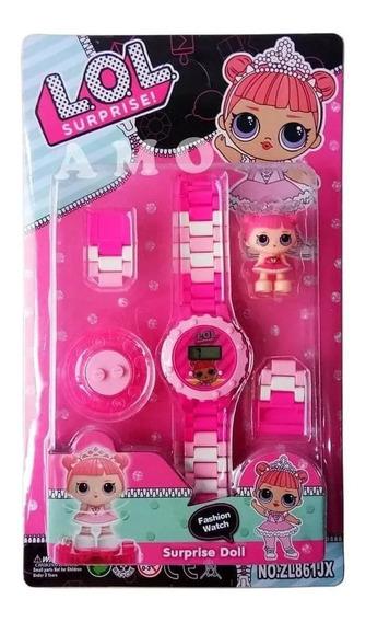 Relógio Infantil Da Lol Digital + Boneco De Personagem
