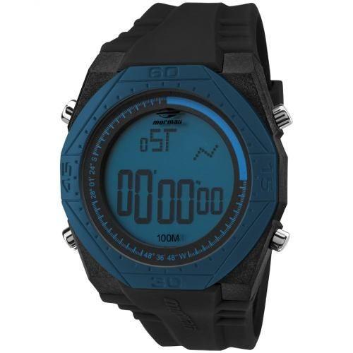 Relógio Mormaii Masculino Preto Com Azul Nautique Mo3374a 8a